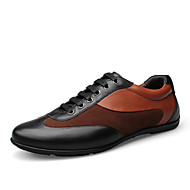Men's Shoes Leather Spring Summer Fall Winter Comfort Lace-up For Casual Outdoor Office & Career Black Brown