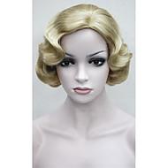 Naisten Synteettiset peruukit Koneella valmistettu Suojuksettomat Lyhyt Löysä laine Vaaleahiuksisuus Sivuosa Cosplay-peruukki Halloween