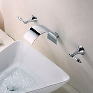 Mlfalls Sanitary Fittings Three Holes Contemporary Widespread Wall Mount Waterfall 3 Pieces Bathroom Faucet