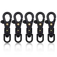 軽量フラ360度回転ナイロンプラスチック鋼& 高強度パラシュートコードカラビナ - 黒(5個)