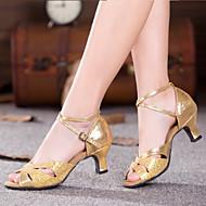 billige Salsasko-Dame Ballet / Sko til latindans / Dansesko Glimtende Glitter / Paillette / Syntetisk Sandaler / Hæle / Sneaker Glimtende glitter / Draperet / Krøllede Folder Cubanske hæle Kan ikke tilpasses Dansesko
