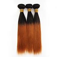 שיער אנושי שיער פרואני טווה שיער אדם ישר תוספות שיער 3 חלקים שחור # 30 T1B