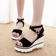Women's Shoes Suede Wedge Heel Peep Toe / Comfort / Ankle Strap Sandals Dress / Casual Black / Red
