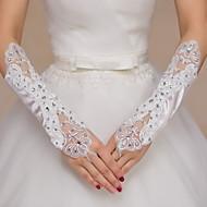 K lokti Bez prstů Rukavice Satén Krajka Pro nevěstu Party rukavičky Výšivka Kamínky