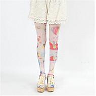 cheap Lolita Fashion Costumes-Socks / Long Stockings Sweet Lolita Dress Lolita Lolita Women's Blue Pink Lolita Accessories Print Stockings Silk