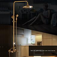 זול ברזים למקלחת-עכשווי סט מרכזי מקלחת גשם מפל מים שפורפרת יד כלולה שסתום קרמי שתי ידיות שני חורים כרום, ברז למקלחת