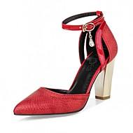 baratos Sapatos de Tamanho Pequeno-Mulheres / Para Meninas Courino Primavera / Verão Salto Robusto Laço Preto / Vermelho / Dourado / Casamento / Social / 2-3