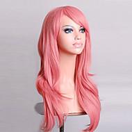 Sentetik Peruklar Bukle / Doğal Dalgalar Stil Asimetrik Saç Kesimi Bonesiz Peruk Pembe Pembe Sentetik Saç Kadın\'s Doğal saç çizgisi Pembe Peruk Uzun kostüm Peruk