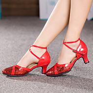 baratos Sapatilhas de Dança-Mulheres Sapatos de Dança Latina Glitter / Paetês / Sintético Sandália / Salto / Têni Lantejoulas / Gliter com Brilho / Presilha Salto Cubano Não Personalizável Sapatos de Dança Vermelho / Prateado