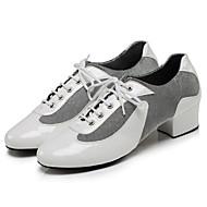 """billige Moderne sko-Herre Dame Latin Jazz Dansesko Moderne Dansestøvler Kunstlær Joggesko utendørs Trening Lav hæl Hvit Svart Rød 2 """"- 2 3/4"""" Kan"""