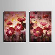 billiga Oljemålningar-Hang målad oljemålning HANDMÅLAD - Blommig / Botanisk Europeisk Stil Duk