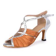 baratos Sapatilhas de Dança-Mulheres Sapatos de Dança Latina Cetim / Courino Sandália / Salto / Têni Presilha / Fru-Fru / Vazados Salto Carretel Personalizável Sapatos de Dança Azul Marinho / Pêssego / Marrom / Espetáculo