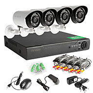 cheap DVR Kits-4 Channel 960H Real Time (960*576) 4 720p Bullet Cameras