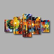 Met de hand geschilderd geweven landschap olieverfschilderijen straat 's nachts palette gestrekte frame