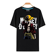 קיבל השראה מ One Piece Monkey D. Luffy אנימה תחפושות קוספליי Cosplay חולצת טריקו דפוס שרוולים קצרים עליון עבור בגדי ריקוד גברים / בגדי ריקוד נשים