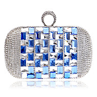 cheap Bags-Women's Bags Polyester Clutch / Evening Bag / Cosmetic Bag Acrylic Jewels Blue / Rainbow / Champagne