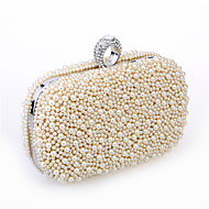 Women Bags Metal Satin Evening Bag Beading Imitation Pearl Crystal/ Rhinestone for Wedding Event/Party Formal All Seasons White Black
