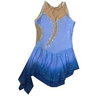 Vestidos para Patinação Artística Mulheres Para Meninas Vestidos de Patinação no Gelo Azul Elastano Moderno Espetáculo Confeccionada à Mão