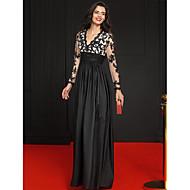 Linha A Princesa Decote V Longo Renda Tafetá Evento Formal Vestido com Apliques Faixa / Fita de TS Couture®