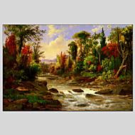 halpa -Maalattu Abstraktit maisemakuvatModerni / Classic / Realismi / Pastoraali / European Style 1 paneeli Kanvas Hang-Painted öljymaalaus For