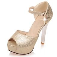 baratos Sapatos de Tamanho Pequeno-Feminino Sapatos Gliter Courino Primavera Verão Outono Tira no Tornozelo Salto Agulha Plataforma Presilha Para Casamento Social Festas &
