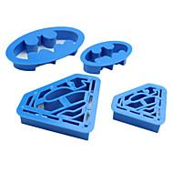 baratos Utensílios para Biscoitos-Ferramentas bakeware Plástico Amiga-do-Ambiente Bolo / Biscoito Desenhos Animados 3D Molde 4pçs
