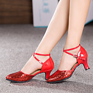 billige Moderne sko-Kan ikke spesialtilpasses-Dame-Dansesko-Latinamerikansk-Lakklær Glimtende Glitter Paljetter Syntetisk-Kubansk hæl-Svart Rød Sølv Gull