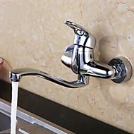 お買い得  キッチン用蛇口-コンテンポラリー バー/準備 壁式 回転可 セラミックバルブ 二つのハンドル二つの穴 クロム, 水栓