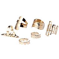 Mulheres Conjunto de Jóias Maxi anel cuff Anel Coração Moda Estilo simples bijuterias Liga Formato de Coração Formato de Folha Jóias Para