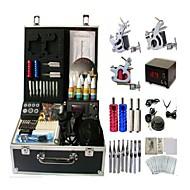 baratos kits profissionais do tatuagem-BaseKey Máquina de tatuagem Kit de tatuagem profissional - 3 pcs máquinas de tatuagem LCD de alimentação Capa Inclusa 3xMáquina Tatuagem de aço para linhas e sombras