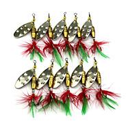 """10 個 ルアー バズベイト&スピナーベイト スプーン ランダム色 グラム/オンス,64mm mm/2-1/2"""" インチ,羽毛 メタル 海釣り 川釣り その他 ルアー釣り 一般的な釣り"""