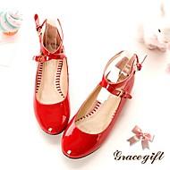 tanie Small Size Shoes-Damskie / Dla dziewczynek Obuwie Derma Wiosna lato Świecące buty Buty płaskie na Biały / Czerwony / Różowy / Impreza / bankiet