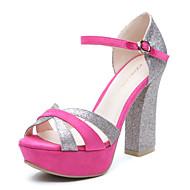 Women's Shoes Sheepskin Summer Chunky Heel for Casual Fuchsia
