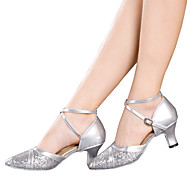 cheap Dance Shoes-Women's Latin Shoes Sparkling Glitter / Paillette / Synthetic Sandal / Heel / Sneaker Sequin / Sparkling Glitter / Buckle Cuban Heel Non Customizable Dance Shoes Red / Silver / Gold / Indoor