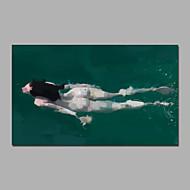 dame zwemmen in water mooie kunstwerk acryl schilderijborstel met strakker klaar om te hangen
