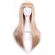 70 Cm Harajuku Anime Cosplay Wigs With Bangs Sexy Long Straight Synthetic Hair European American Style Blonde Wig