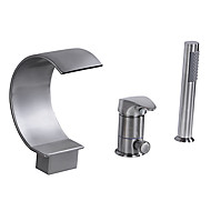 cheap Faucets-Bathtub Faucet - Waterfall Nickel Brushed Tub And Shower Single Handle Three Holes
