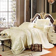 Light Yellow Bedding Set Queen King Size Luxury Silk Cotton Blend Lace Duvet Cover Sets Jacquard Pattern