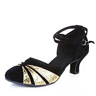 billige Moderne sko-Dame Moderne sko / Ballett Paljett / Semsket lær Høye hæler Spenne Kubansk hæl Kan ikke spesialtilpasses Dansesko Svart og Sølv / Sort og Gull / Rød