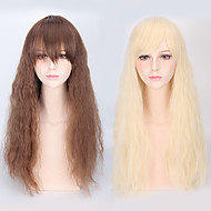 Naisten Synteettiset peruukit Suojuksettomat Pitkä Löysä laine Beige Vaaleahiuksisuus Otsatukalla Cosplay-peruukki puku Peruukit