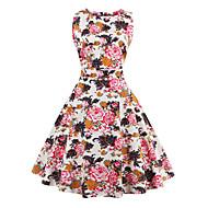 女性用 プラスサイズ Aライン ドレス - プリント, フラワー