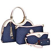 女性 バッグ オールシーズン PU バッグセット 4個の財布セット のために ショッピング カジュアル フォーマル ベージュ Brown ブルー ピンク