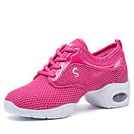 billige Dansesneakers-Dame Moderne sko Tekstil Splitt såle Tykk hæl Kan ikke spesialtilpasses Dansesko Hvit / Svart / Rosa