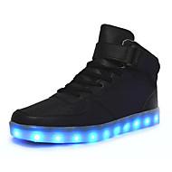 Tasapohja-Naisten-Synteettinen-Musta Punainen Valkoinen-Ulkoilu Rento-Light Up Kengät