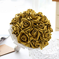 Esküvői virágok Kör Rózsák Csokrok Esküvő Parti /Estélyi Szatén Hab Kristály Strassz Kb. 26 cm