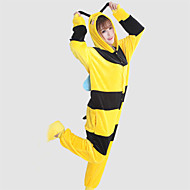 Voksne Kigurumi-pyjamas Bi Dyremønster Onesie-pyjamas Koralfleece Gul Cosplay Til Damer og Herrer Nattøj Med Dyr Tegneserie Festival / Højtider Kostumer