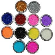 12pcs Farben-Funkeln-Puder Nagelkunstdekoration