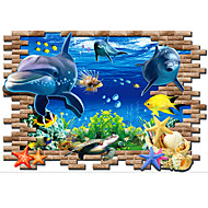 3D Underwater World Dolphin Wall Stickers Removable PVC Living Room Bedroom Marine Organism Wall Decals