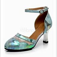 """billige Moderne sko-Dame Latin Blonder Lær Høye hæler Innendørs Trening Spenne Kubansk hæl Grønn 2 """"- 2 3/4"""" Kan ikke spesialtilpasses"""
