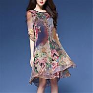Χαμηλού Κόστους -Γυναικεία Μεγάλα Μεγέθη Κινεζικό στυλ Φαρδιά Σιφόν Φόρεμα - Φλοράλ, Στάμπα